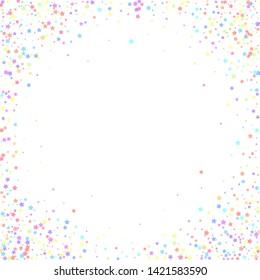 Festive confetti. Celebration stars. Colorful stars on white background. Cool festive overlay template. Lively vector illustration.
