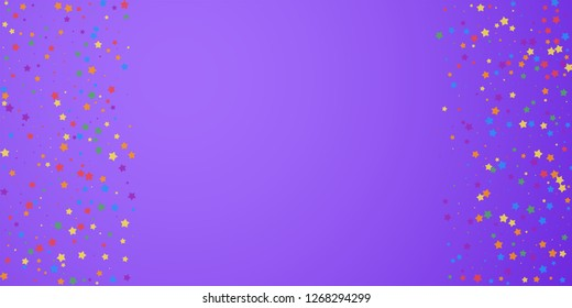 Festive confetti. Celebration stars. Joyous stars on bright purple background. Creative festive overlay template. Extraordinary vector illustration.