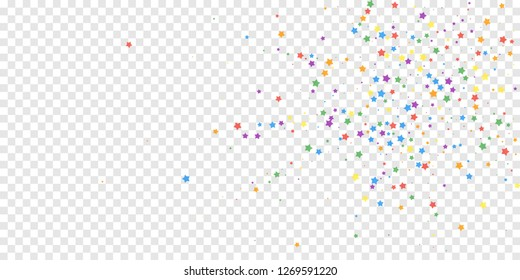 Festive confetti. Celebration stars. Joyous stars on transparent background. Curious festive overlay template. Exotic vector illustration.