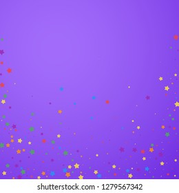 Festive confetti. Celebration stars. Joyous stars on bright purple background. Captivating festive overlay template. Superb vector illustration.