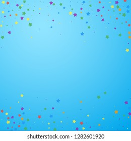 Festive confetti. Celebration stars. Joyous stars on blue sky background. Charming festive overlay template. Immaculate vector illustration.