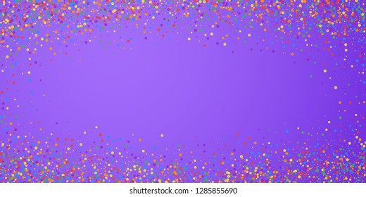 Festive confetti. Celebration stars. Joyous confetti on bright purple background. Elegant festive overlay template. Exceptional vector illustration.
