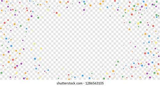 Festive confetti. Celebration stars. Joyous stars on transparent background. Elegant festive overlay template. Amusing vector illustration.