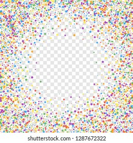 Festive confetti. Celebration stars. Joyous confetti on transparent background. Cool festive overlay template. Fabulous vector illustration.
