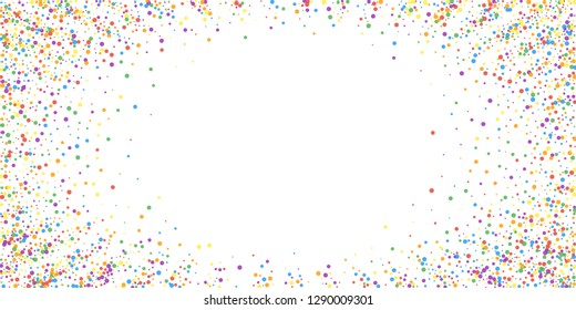 Festive confetti. Celebration stars. Joyous confetti on white background. Elegant festive overlay template. Worthy vector illustration.