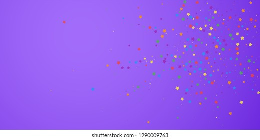 Festive confetti. Celebration stars. Joyous stars on bright purple background. Curious festive overlay template. Exceptional vector illustration.