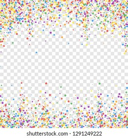 Festive confetti. Celebration stars. Joyous confetti on transparent background. Charming festive overlay template. Ideal vector illustration.