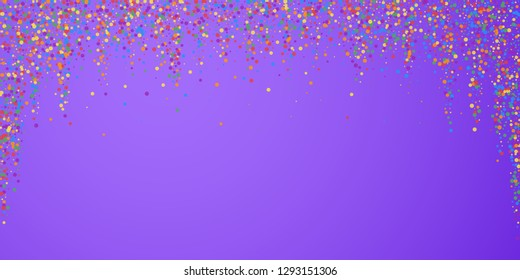 Festive confetti. Celebration stars. Joyous confetti on bright purple background. Dazzling festive overlay template. Superb vector illustration.