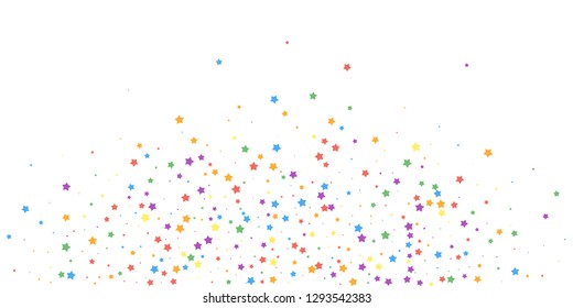 Festive confetti. Celebration stars. Joyous stars on white background. Cute festive overlay template. Energetic vector illustration.