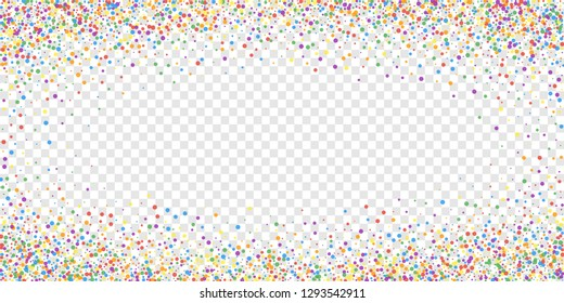 Festive confetti. Celebration stars. Joyous confetti on transparent background. Elegant festive overlay template. Exotic vector illustration.