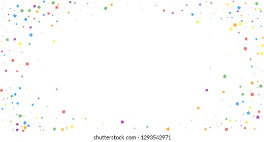 Festive confetti. Celebration stars. Joyous stars on white background. Eminent festive overlay template. Alive vector illustration.