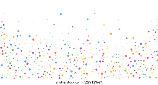 Festive confetti. Celebration stars. Joyous stars on white background. Decent festive overlay template. Lively vector illustration.