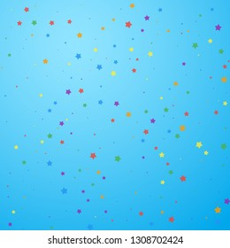 Festive confetti. Celebration stars. Joyous stars on blue sky background. Classic festive overlay template. Captivating vector illustration.