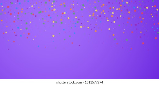 Festive confetti. Celebration stars. Joyous stars on bright purple background. Divine festive overlay template. Quaint vector illustration.