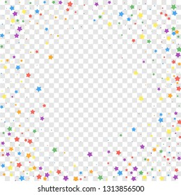 Festive confetti. Celebration stars. Joyous stars on transparent background. Cool festive overlay template. Fascinating vector illustration.