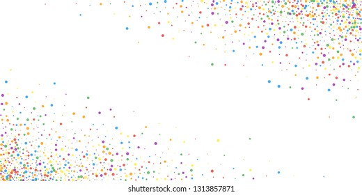 Festive confetti. Celebration stars. Joyous confetti on white background. Creative festive overlay template. Noteworthy vector illustration.