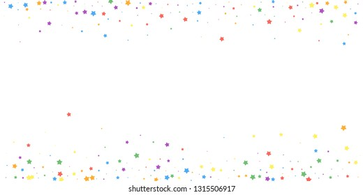 Festive confetti. Celebration stars. Joyous stars on white background. Creative festive overlay template. Appealing vector illustration.