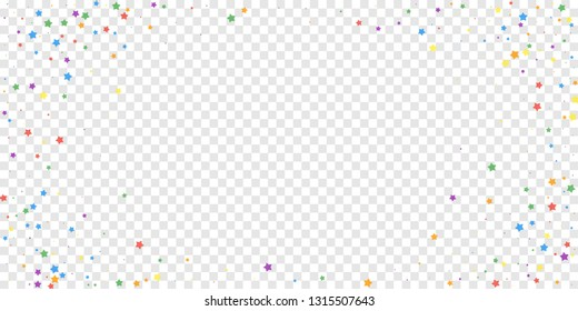 Festive confetti. Celebration stars. Joyous stars on transparent background. Eminent festive overlay template. Adorable vector illustration.