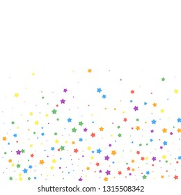Festive confetti. Celebration stars. Joyous stars on white background. Classy festive overlay template. Graceful vector illustration.