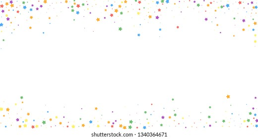 Festive confetti. Celebration stars. Joyous stars on white background. Decent festive overlay template. Symmetrical vector illustration.