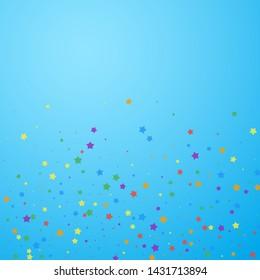 Festive confetti. Celebration stars. Joyous stars on blue sky background. Classy festive overlay template. Glamorous vector illustration.