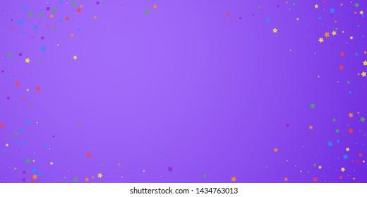 Festive confetti. Celebration stars. Joyous stars on bright purple background. Eminent festive overlay template. Admirable vector illustration.