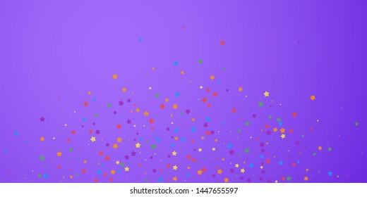 Festive confetti. Celebration stars. Joyous stars on bright purple background. Cute festive overlay template. Emotional vector illustration.