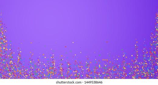 Festive confetti. Celebration stars. Joyous confetti on bright purple background. Decent festive overlay template. Cool vector illustration.