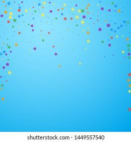 Festive confetti. Celebration stars. Joyous stars on blue sky background. Captivating festive overlay template. Interesting vector illustration.