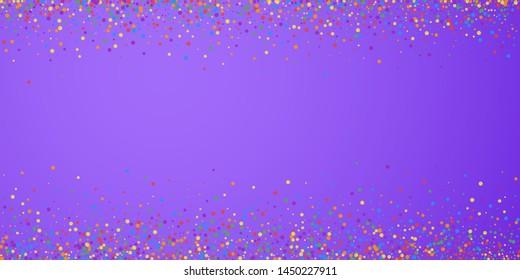 Festive confetti. Celebration stars. Joyous confetti on bright purple background. Creative festive overlay template. Admirable vector illustration.