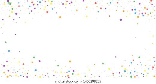 Festive confetti. Celebration stars. Joyous stars on white background. Elegant festive overlay template. Fair vector illustration.