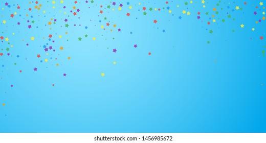 Festive confetti. Celebration stars. Joyous stars on blue sky background. Delightful festive overlay template. Captivating vector illustration.
