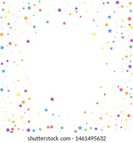 Festive confetti. Celebration stars. Joyous stars on white background. Cool festive overlay template. Authentic vector illustration.