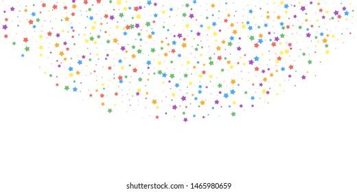 Festive confetti. Celebration stars. Joyous stars on white background. Ecstatic festive overlay template. Favorable vector illustration.