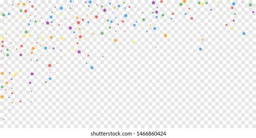 Festive confetti. Celebration stars. Joyous stars on transparent background. Delicate festive overlay template. Creative vector illustration.