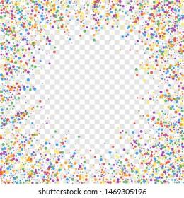 Festive confetti. Celebration stars. Joyous confetti on transparent background. Cool festive overlay template. Amusing vector illustration.