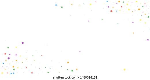 Festive confetti. Celebration stars. Joyous stars on white background. Creative festive overlay template. Overwhelming vector illustration.