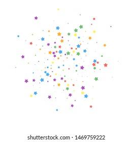 Festive confetti. Celebration stars. Joyous stars on white background. Brilliant festive overlay template. Majestic vector illustration.