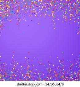 Festive confetti. Celebration stars. Joyous confetti on bright purple background. Charming festive overlay template. Great vector illustration.