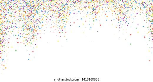 Festive confetti. Celebration stars. Rainbow bright stars on white background. Delightful festive overlay template. Curious vector illustration.