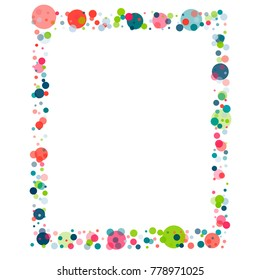 festive confetti frame or border. Childish colorful celebration background. Vector Illustration. Funny cute birthday celebration backdrop