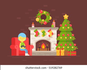 Festive cozy card with Christmas tree, fireplace and character in flat style isolated on dark background for season's greetings and New Year invitations