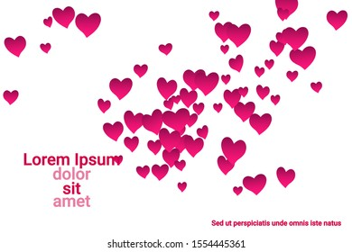Festive decoration in the form of hearts confetti on the background. Valentine's gift. Banner, poster template. Love vector pattern. Colorful vector background for valentines day.