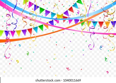 Festive design. Border of colorful bright confetti and flags garlands isolated on transparent background. Party decoration frame for birthday, anniversary, celebration. Vector illustration, eps 10