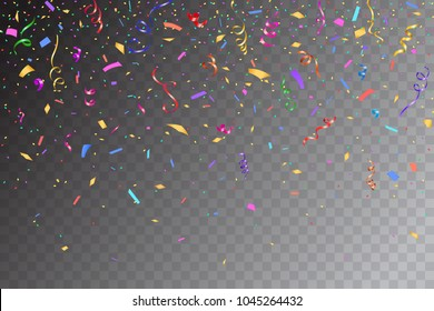 Festive design. Border of colorful bright confetti isolated on transparent background. Party decoration frame for birthday, anniversary, celebration. Vector illustration, eps 10