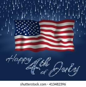 Festive design for fourth of July Independence Day USA. With realistic american flag, firework and glitter text.