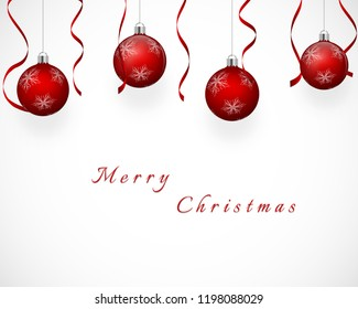 Festive design with snowflake patterned red christmas tree balls and ribbons, on white gray gradient background. Vector eps 10.