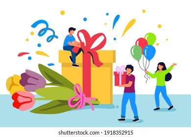 Festive design Tiny people celebrate on the background of a large box with gifts and balloons of bouquets of flowers Holiday banner, web poster, flyer, stylish brochure, greeting card, cover Vector