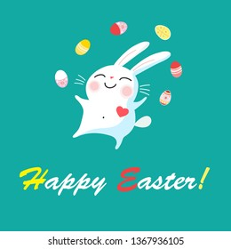 Festive Easter card with a cheerful rabbit and eggs on a green background
