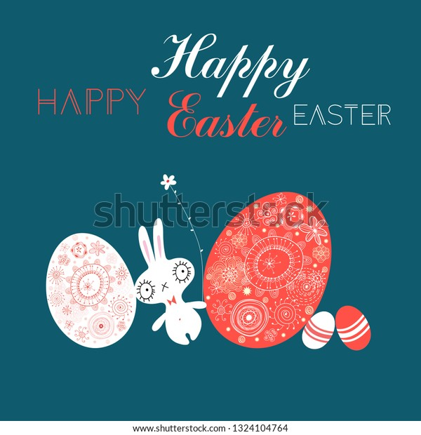 Festive Easter card with eggs and a rabbit on a dark background
